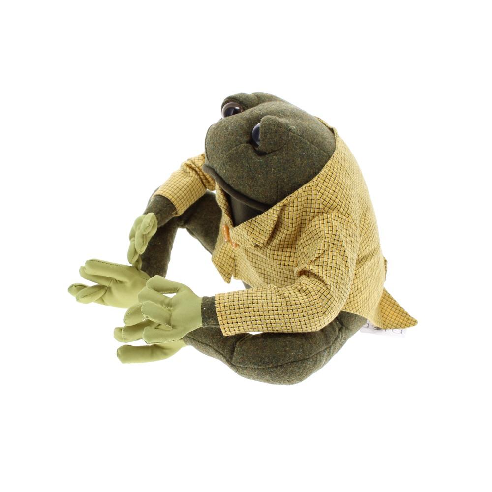Frog material doorstop dressed in jacket from side