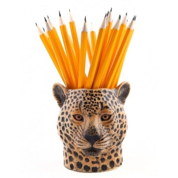 Leopard Pencil Pot with pencils