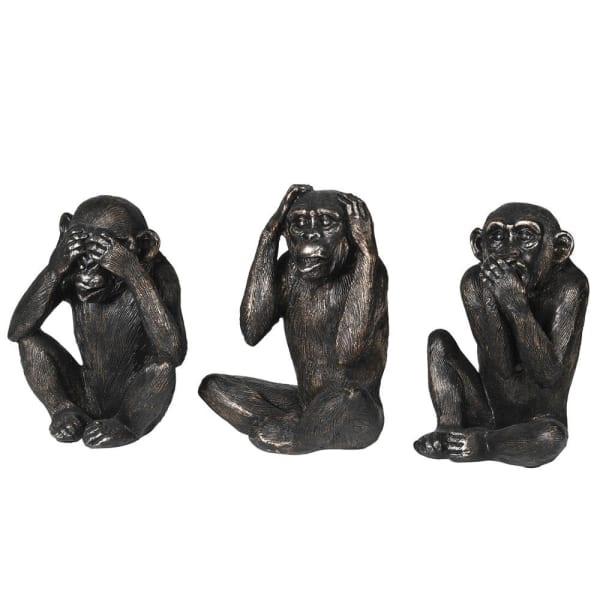 see no evil set of three monkey sculptures