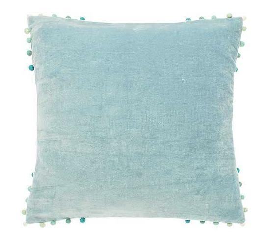 velvet cushion opal with ombre pom pom edging