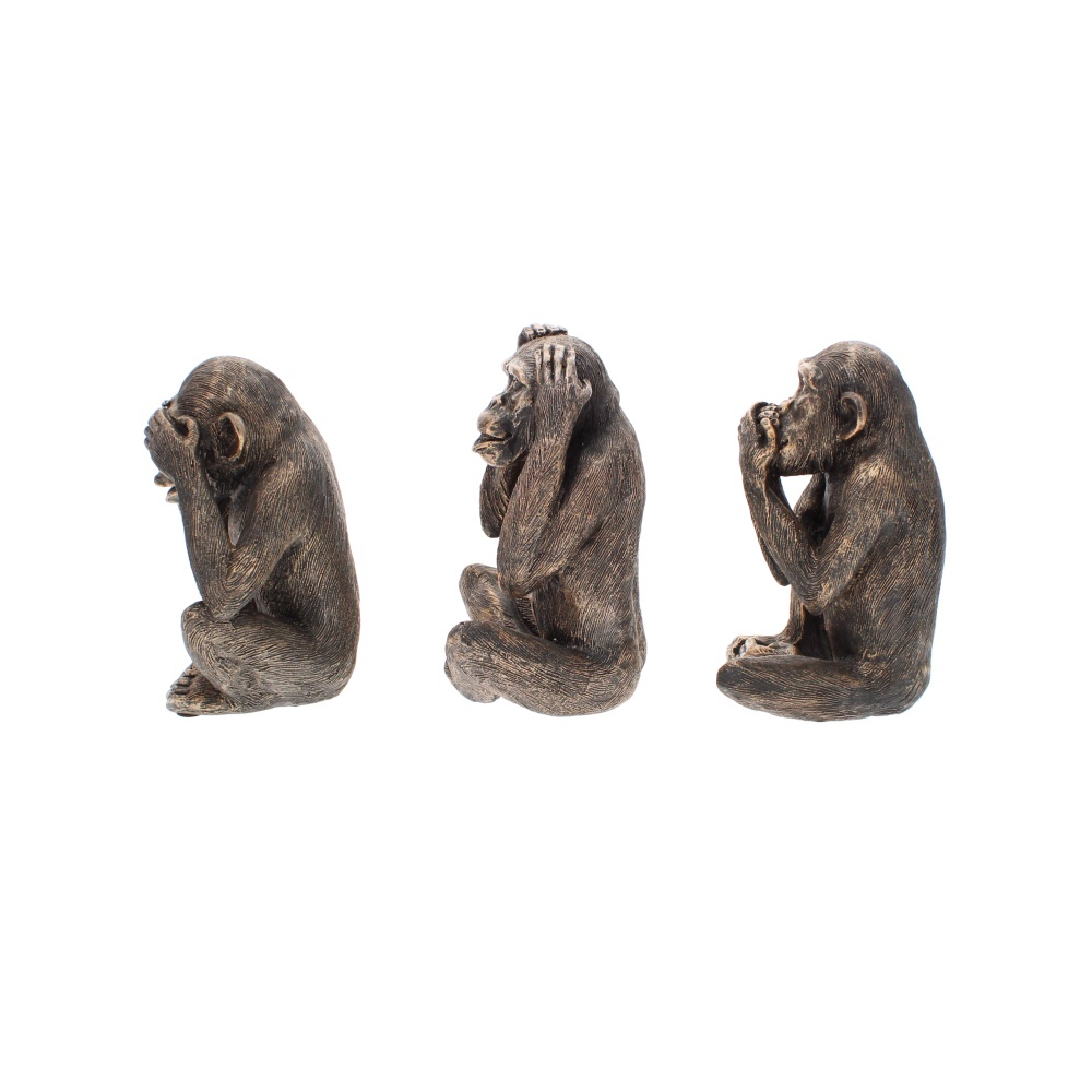 see no evil set of three monkey sculptures side view