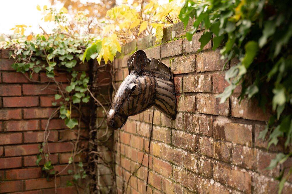 recycled metal zebra head garden wall ornament
