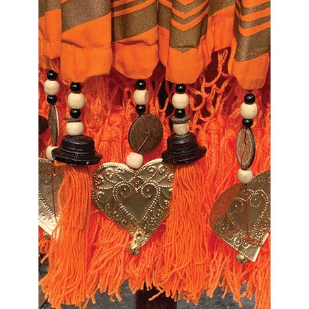 bali sun parasol orange and gold fringing
