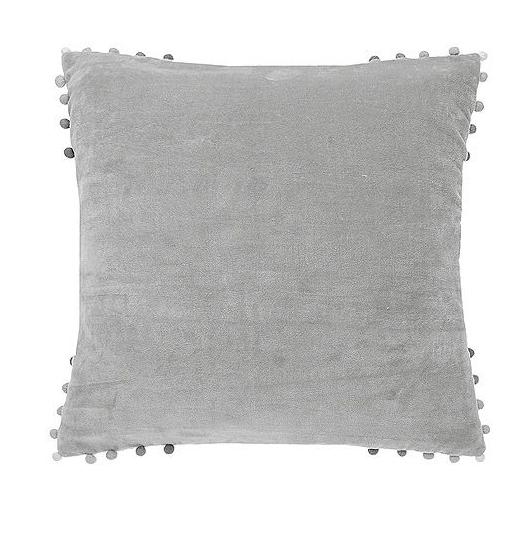 velvet cushion grey with ombre pom pom edging
