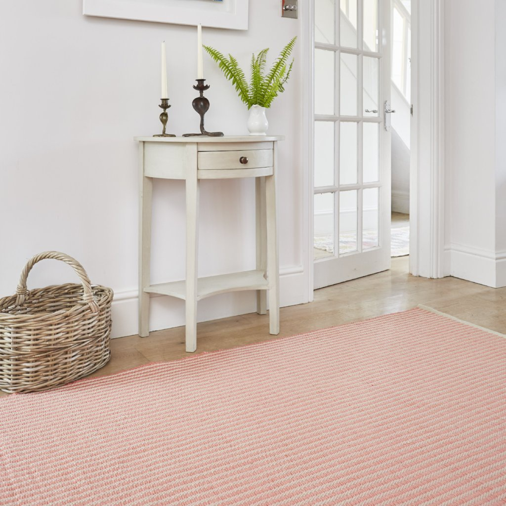 rug made from recycled bottles, coral striped lifestyle