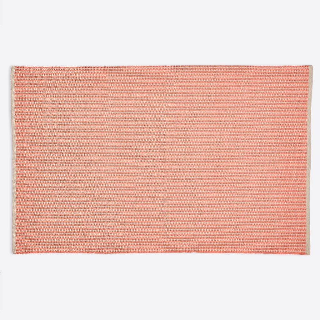 rug made from recycled bottles, coral striped, full rug