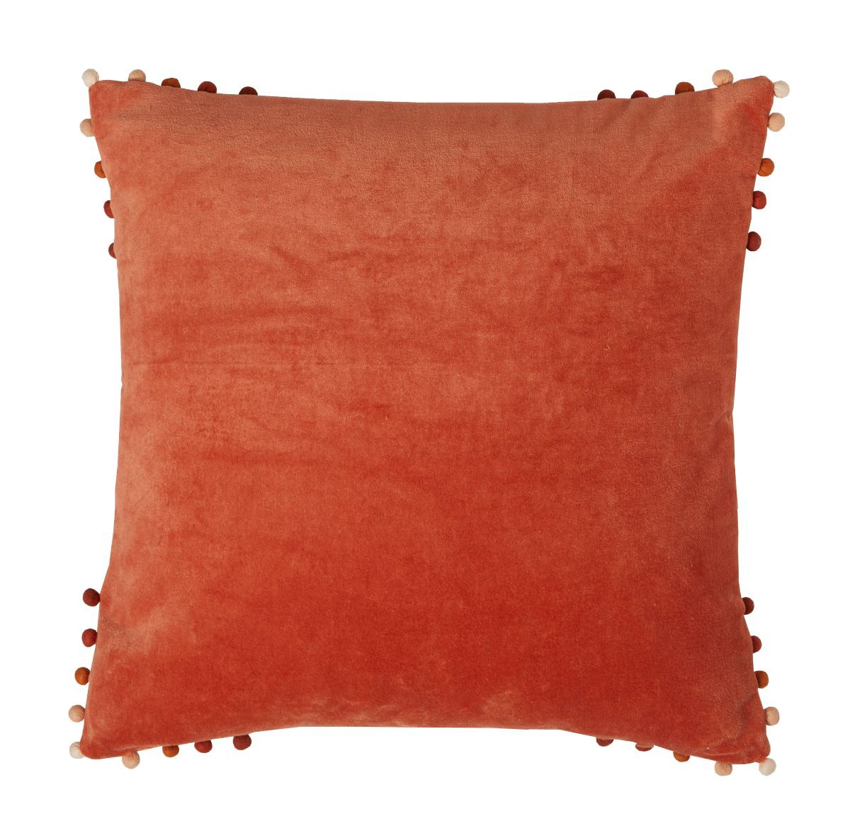 velvet cushion paprika pom pom edging