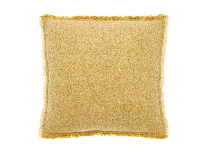 linen cotton cushion mustard
