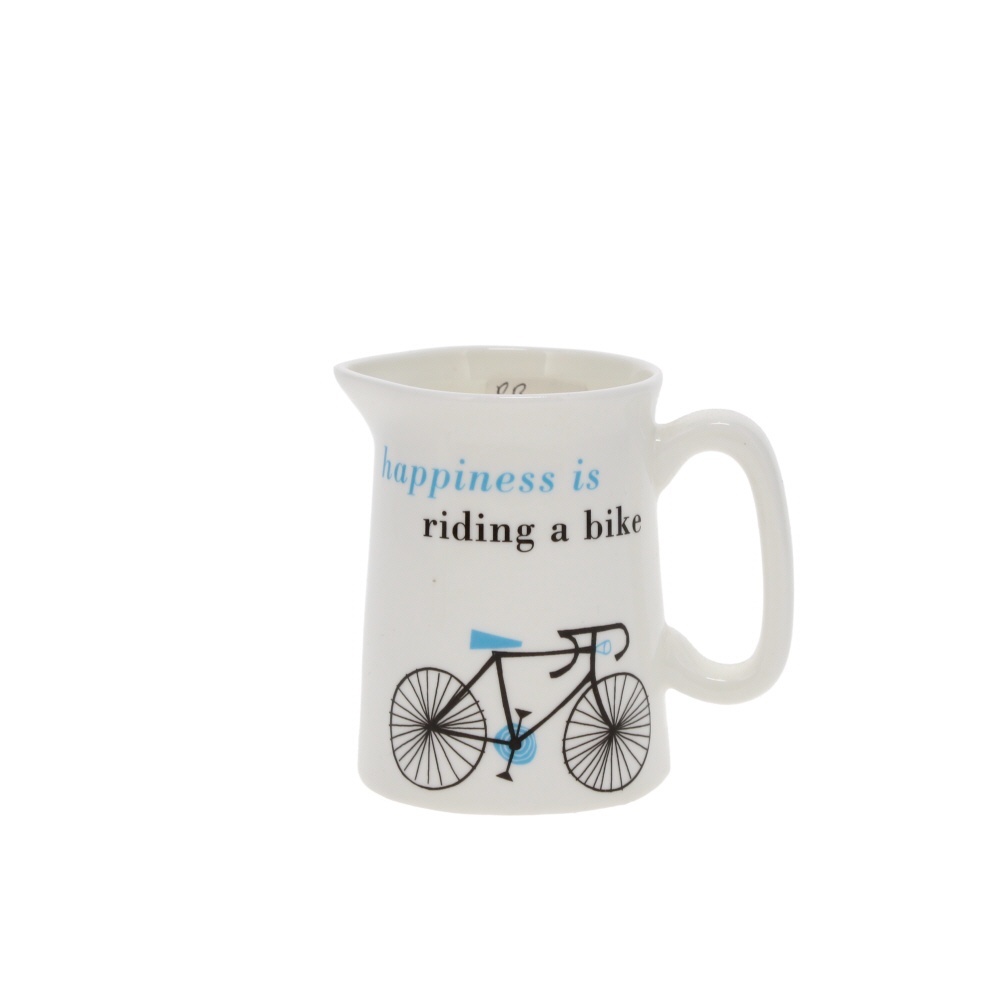 happiness is riding a bike small jug
