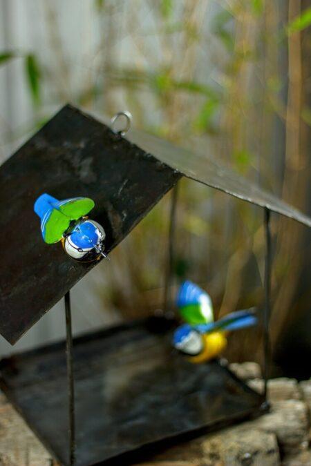 reclaimed metal Blue Tit Hanging Bird House