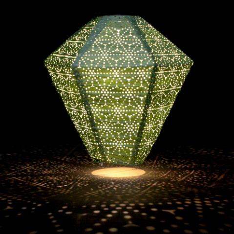 solar lantern green diamond close up with reflections