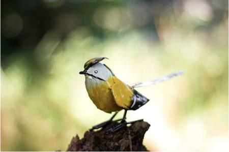 recycled metal bird Waxwing