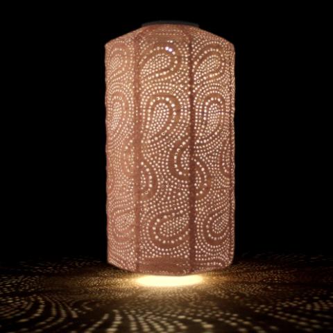 solar lantern pink cylinder shape lit