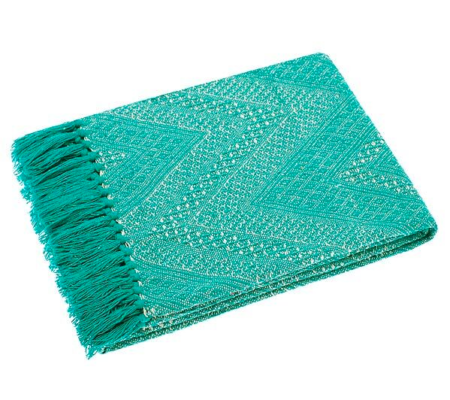 recycled cotton throw in turquoise