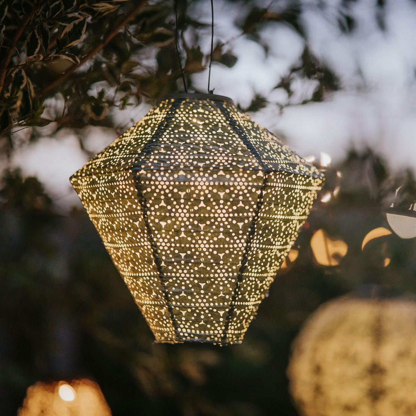 solar lantern green diamond at dusk