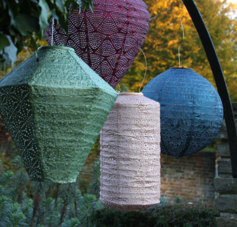 collection of solar lanterns unlit