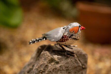 recycled metal bird Zebra Finch