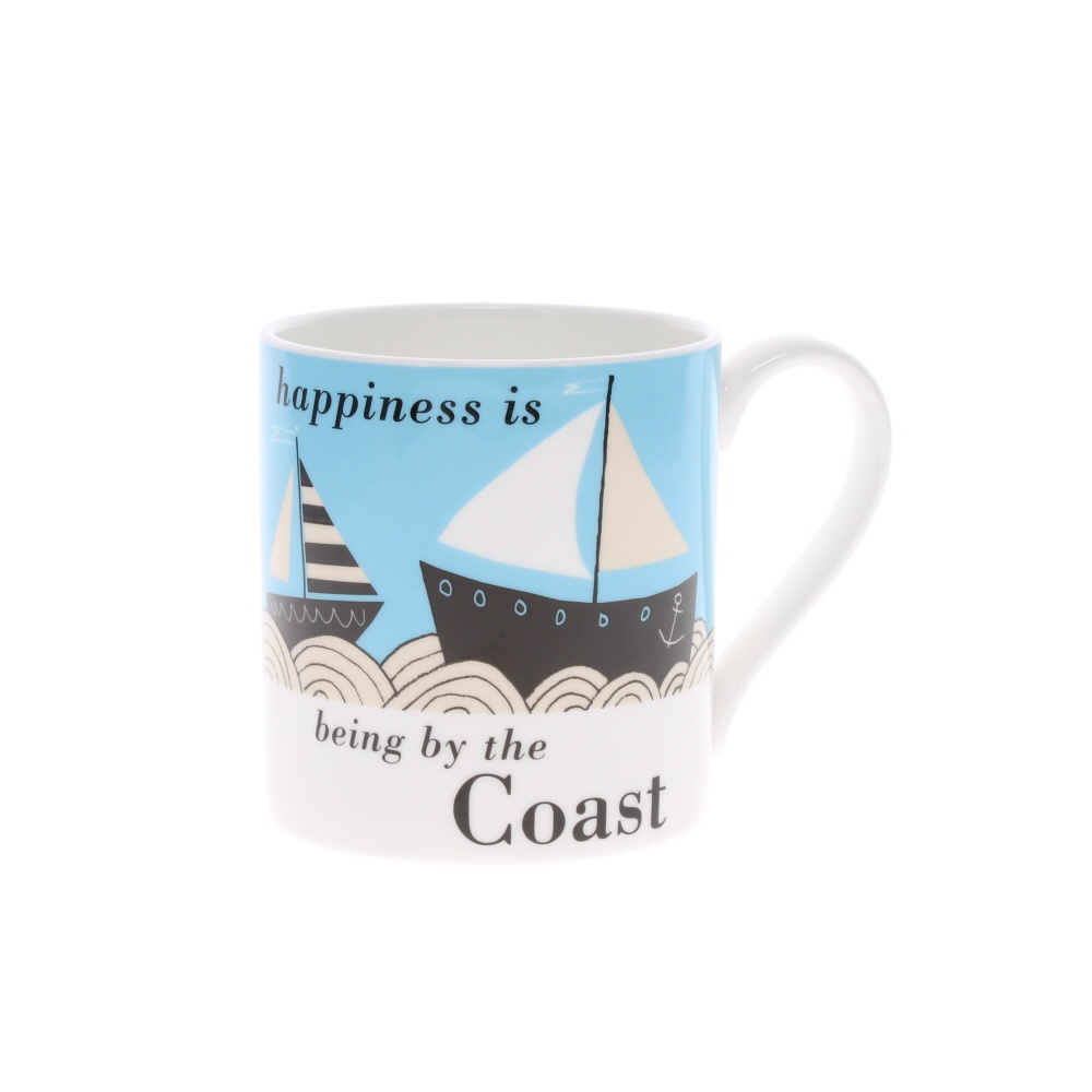 happiness is being by the coast boat mug