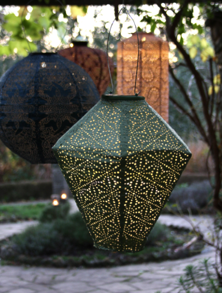 solar lantern green diamond