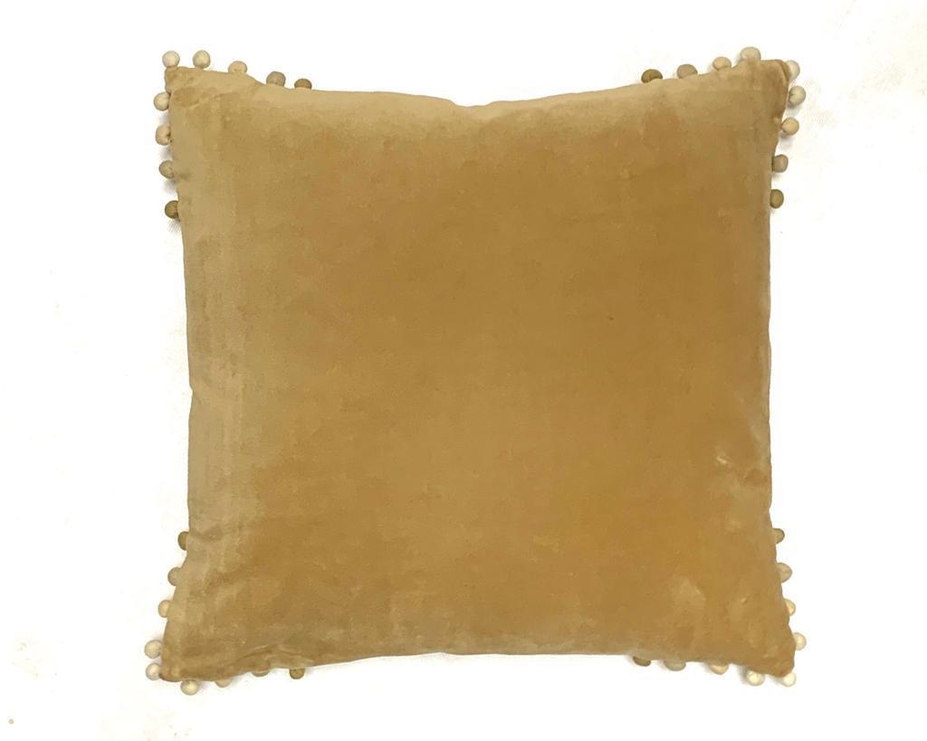 velvet cushion sand with ombre pom pom edging