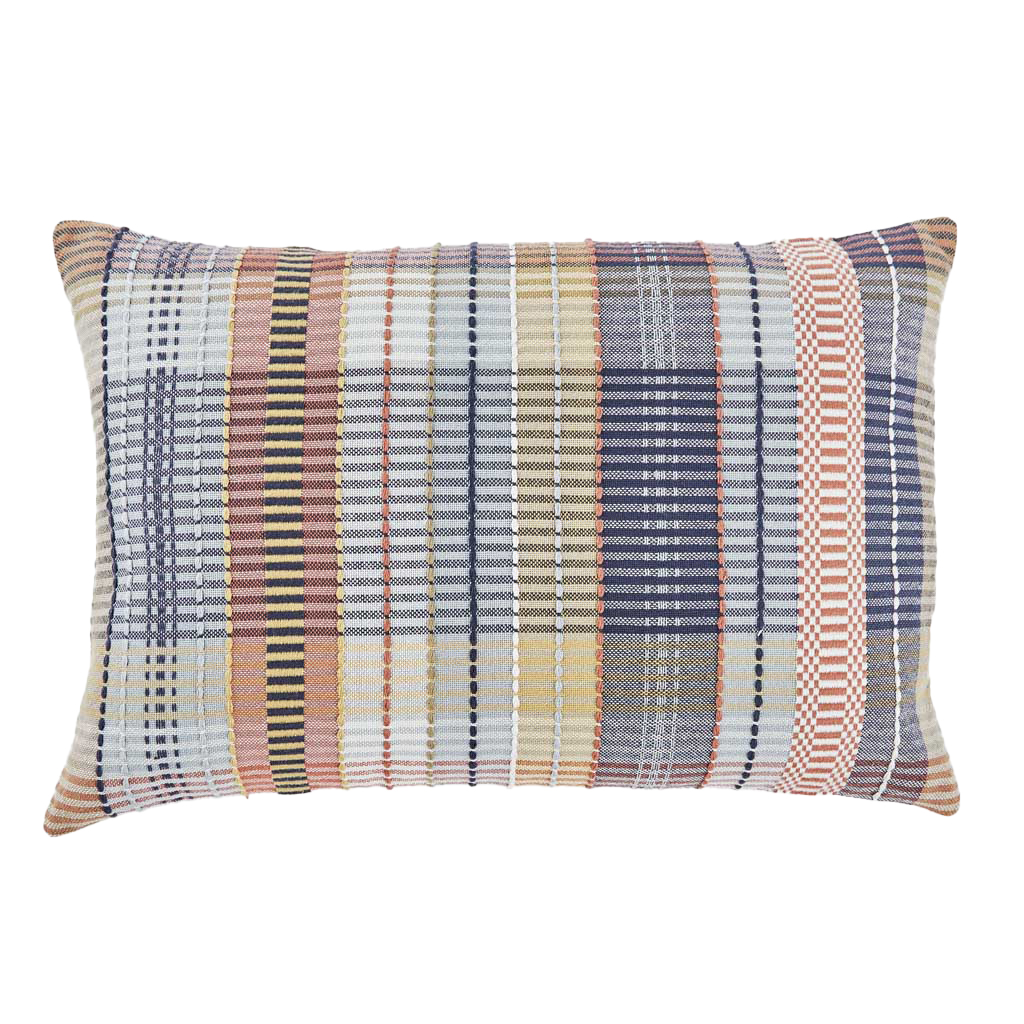 madras pick check recycled cushion