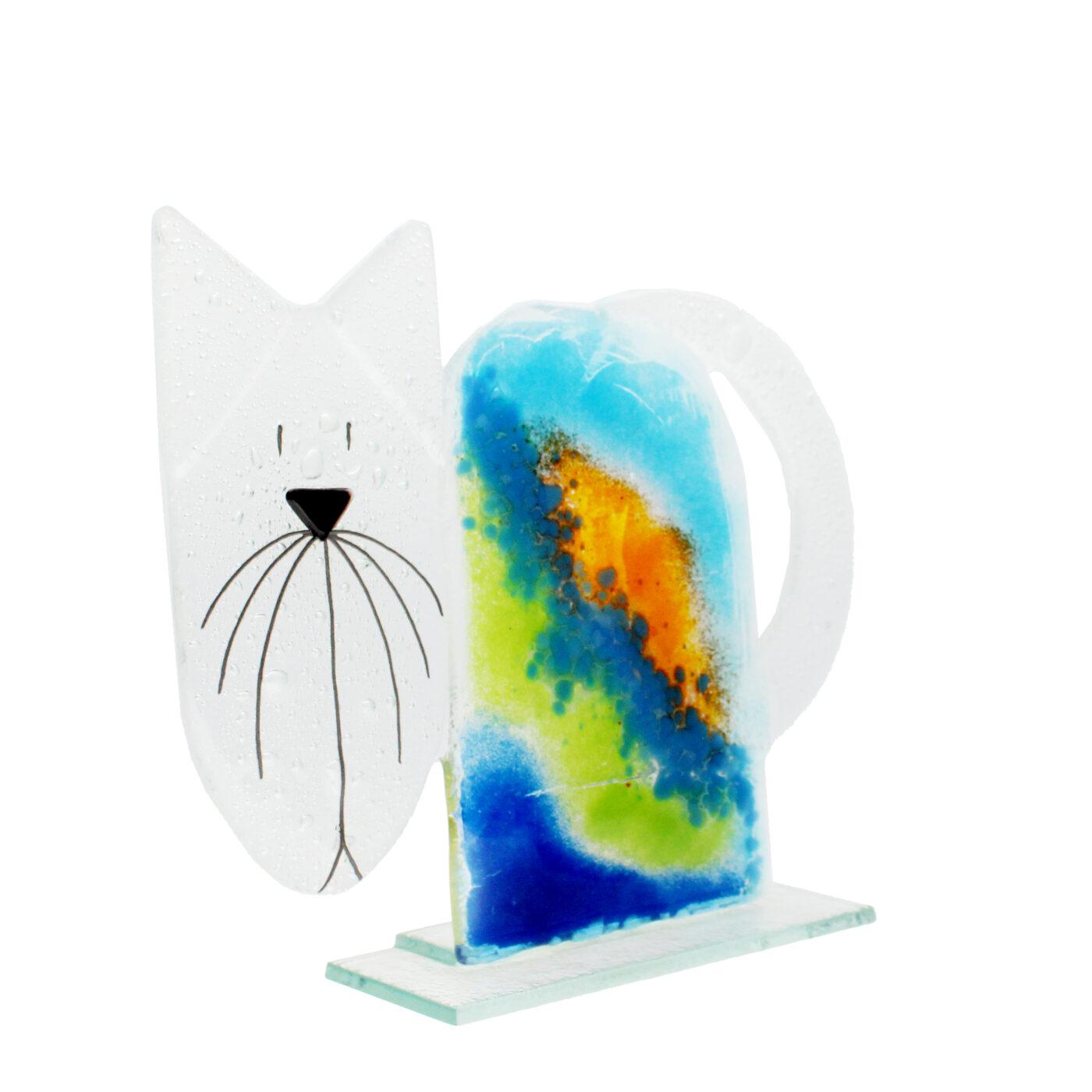 large glass cat ocean colours