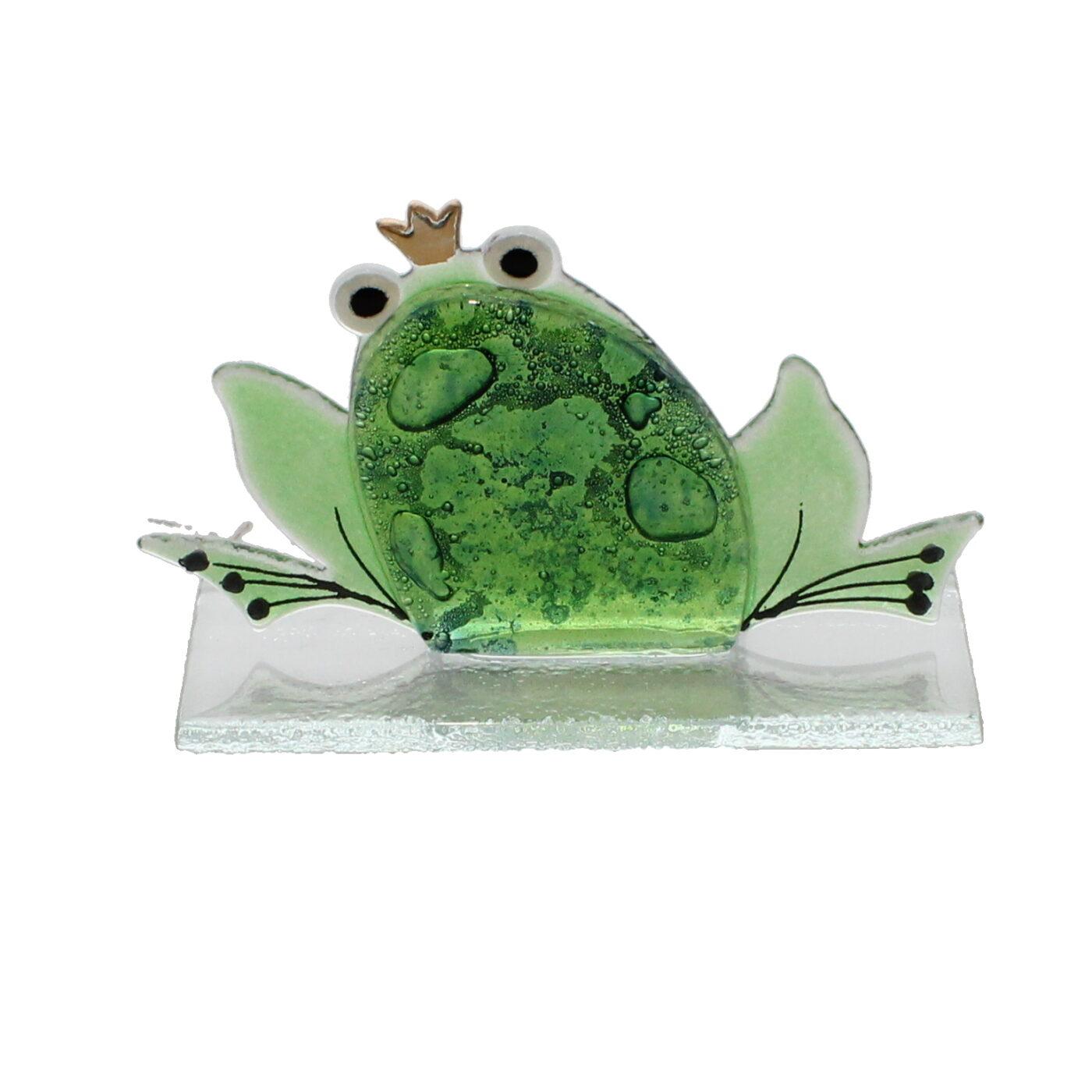 glass frog prince small statue