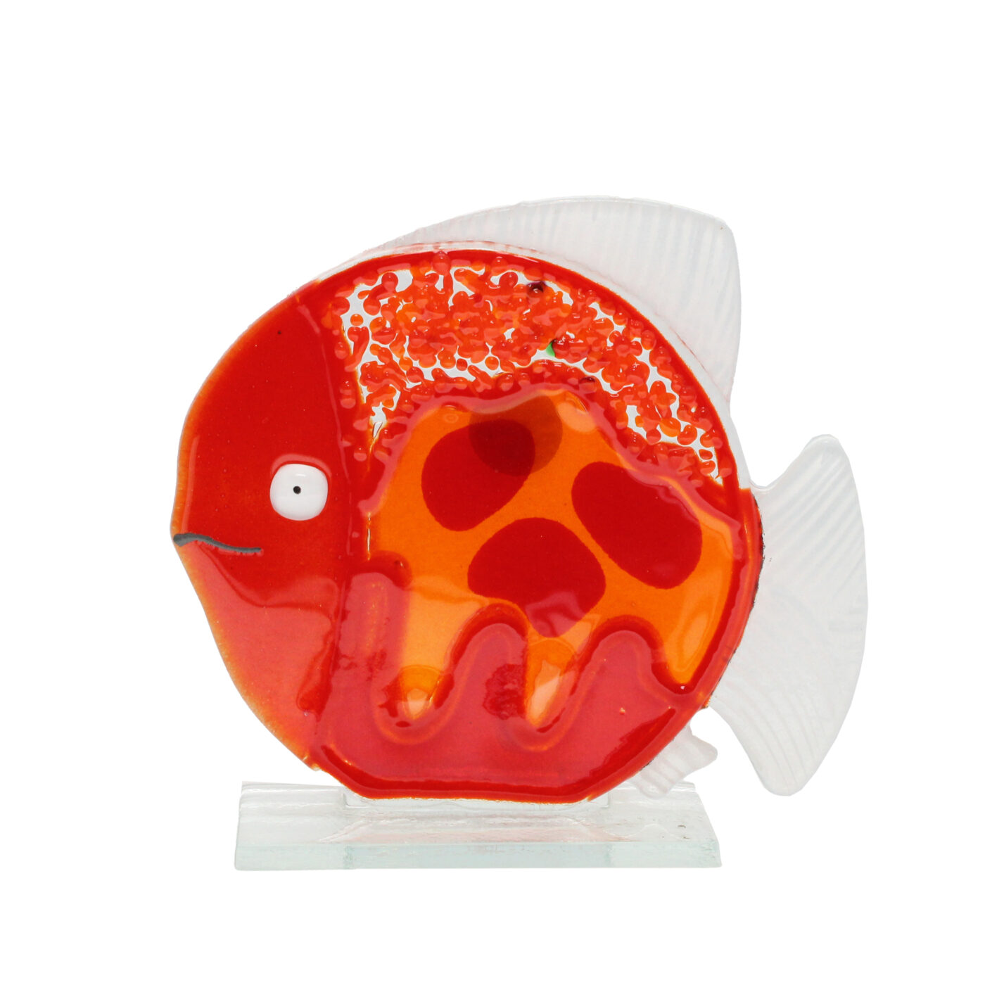 glass fish sculpture red