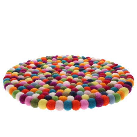 multicoloured felt ball large mat