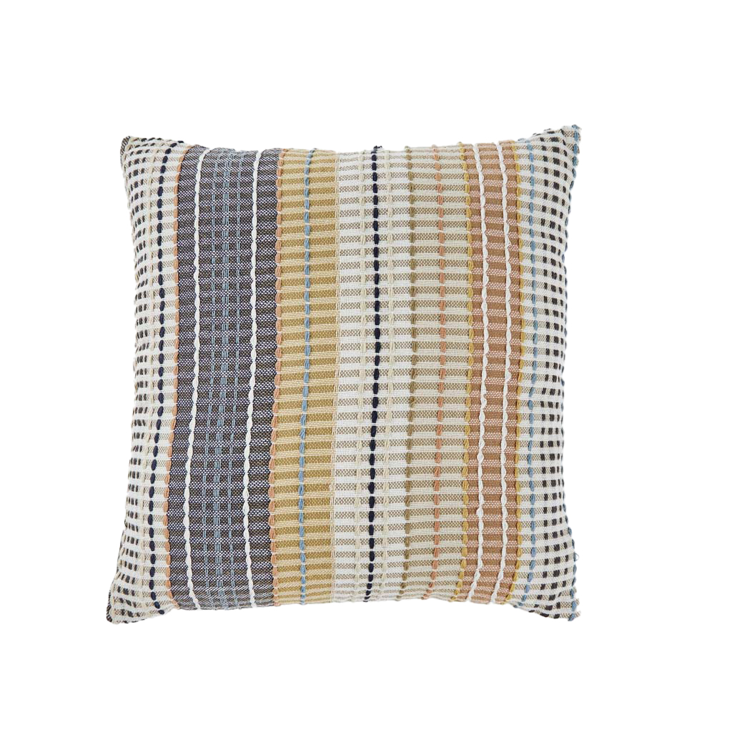madras gold check recycled cushion