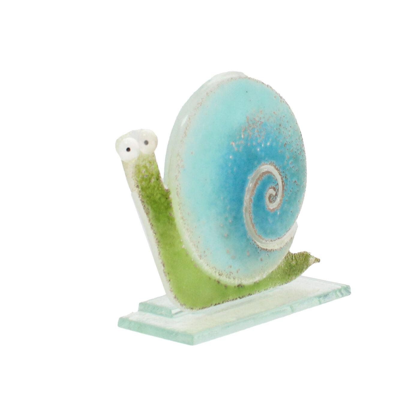 glass snail blue green sculpture
