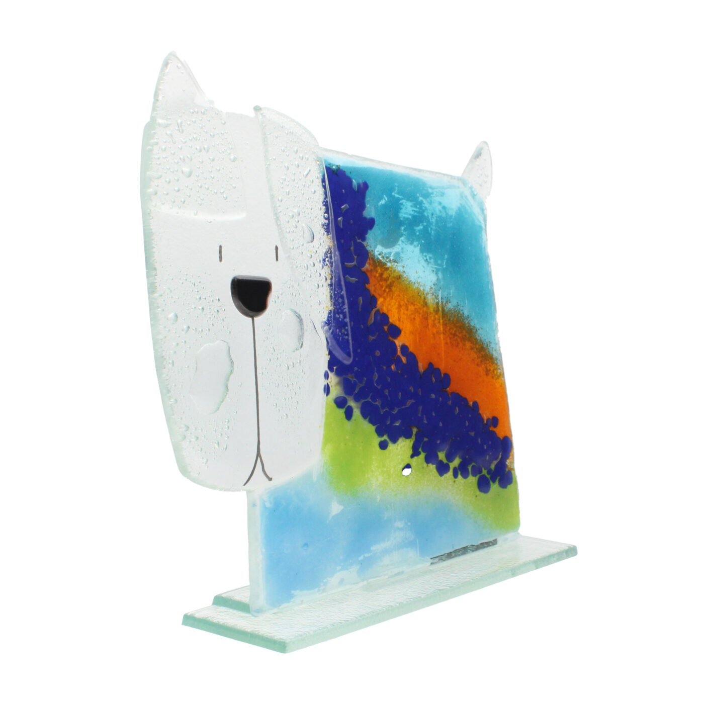 glass dog ocean colours small