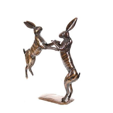 Boxing hares metal sculpture