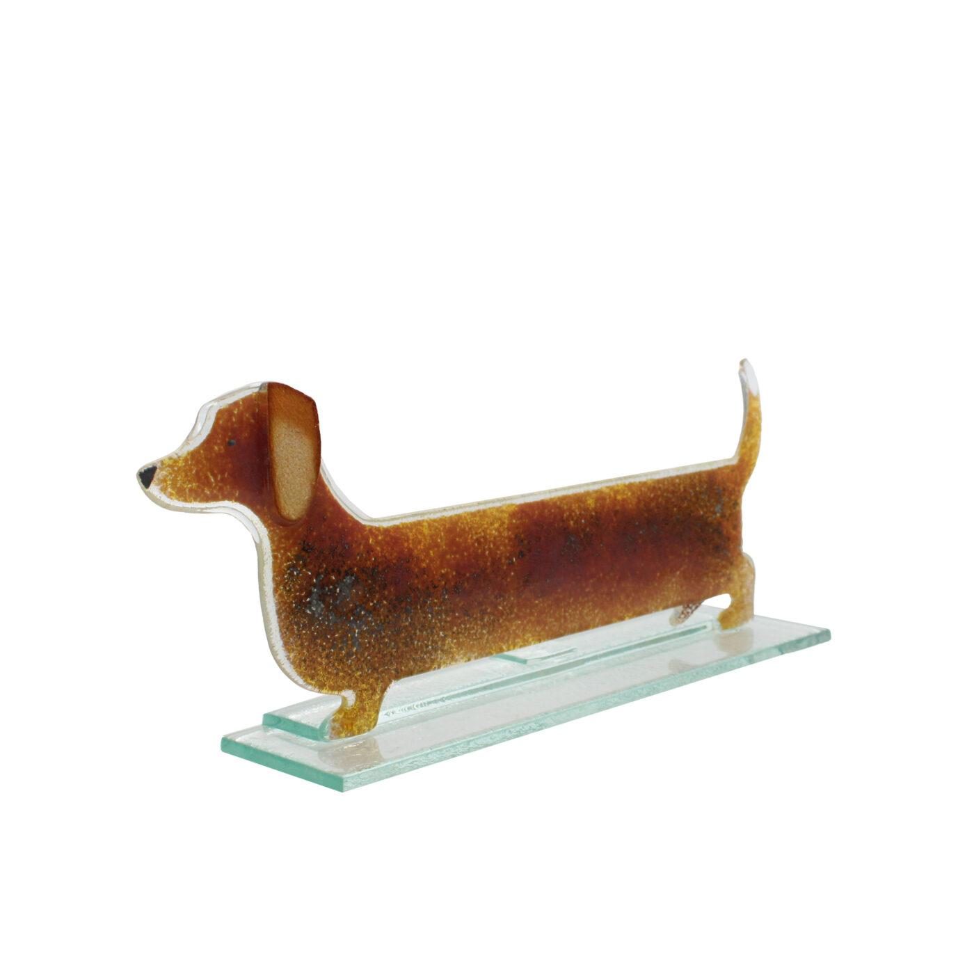 glass sausage dog honey colour