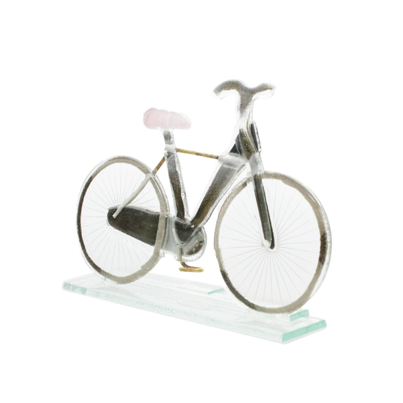 glass bike sculpture pink saddle