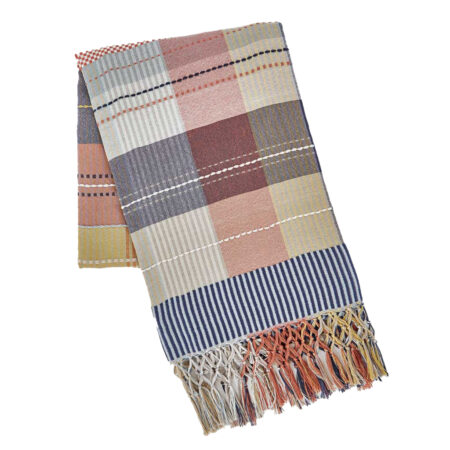 Madras pink check recycled throw