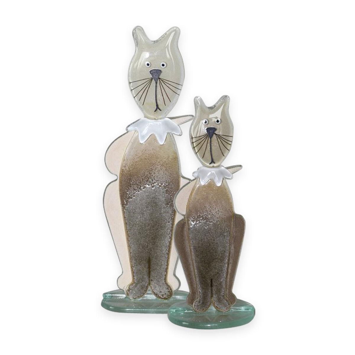 glass cats sculptures