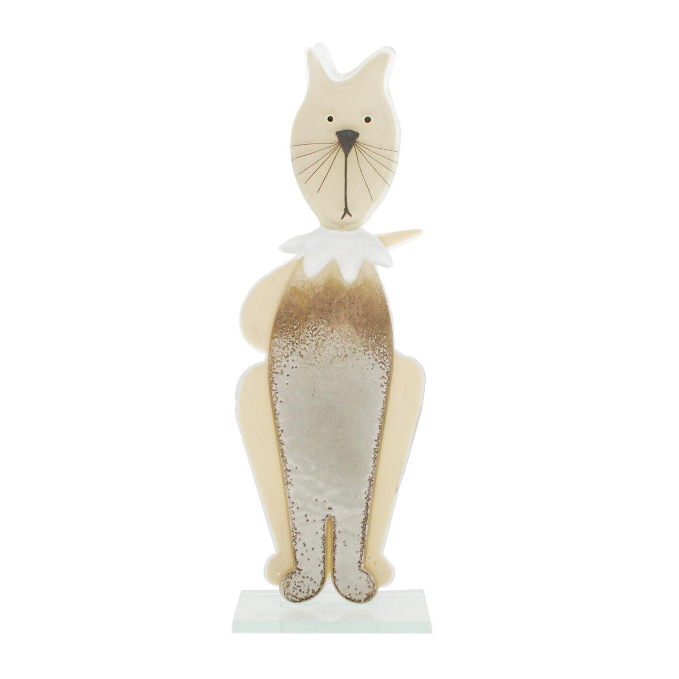 glass cat sculpture cream