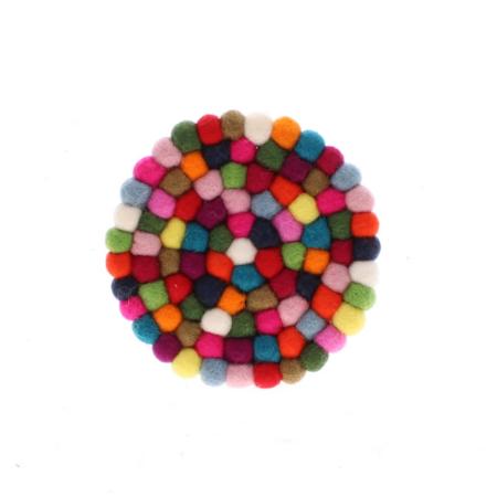 multi coloured felt ball coaster