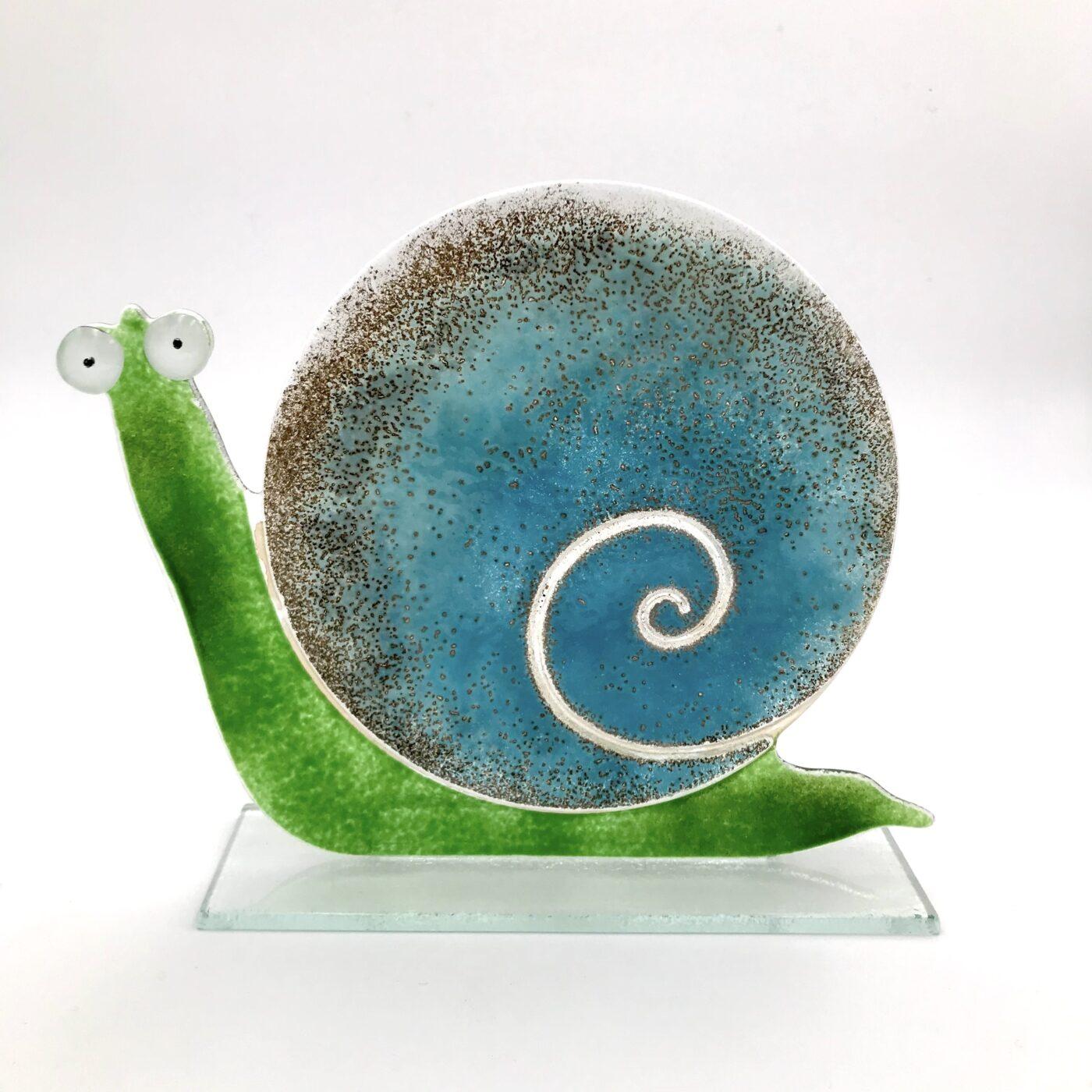 large glass snail ocean blue colour