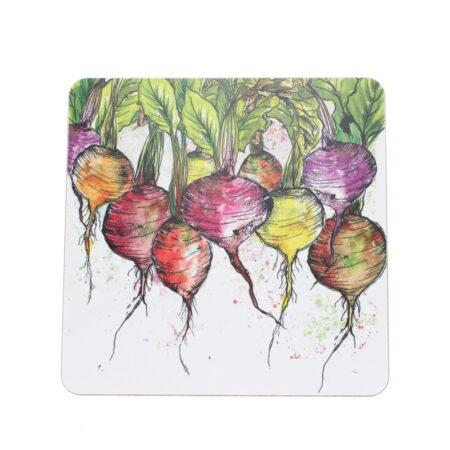 table coaster radishes design