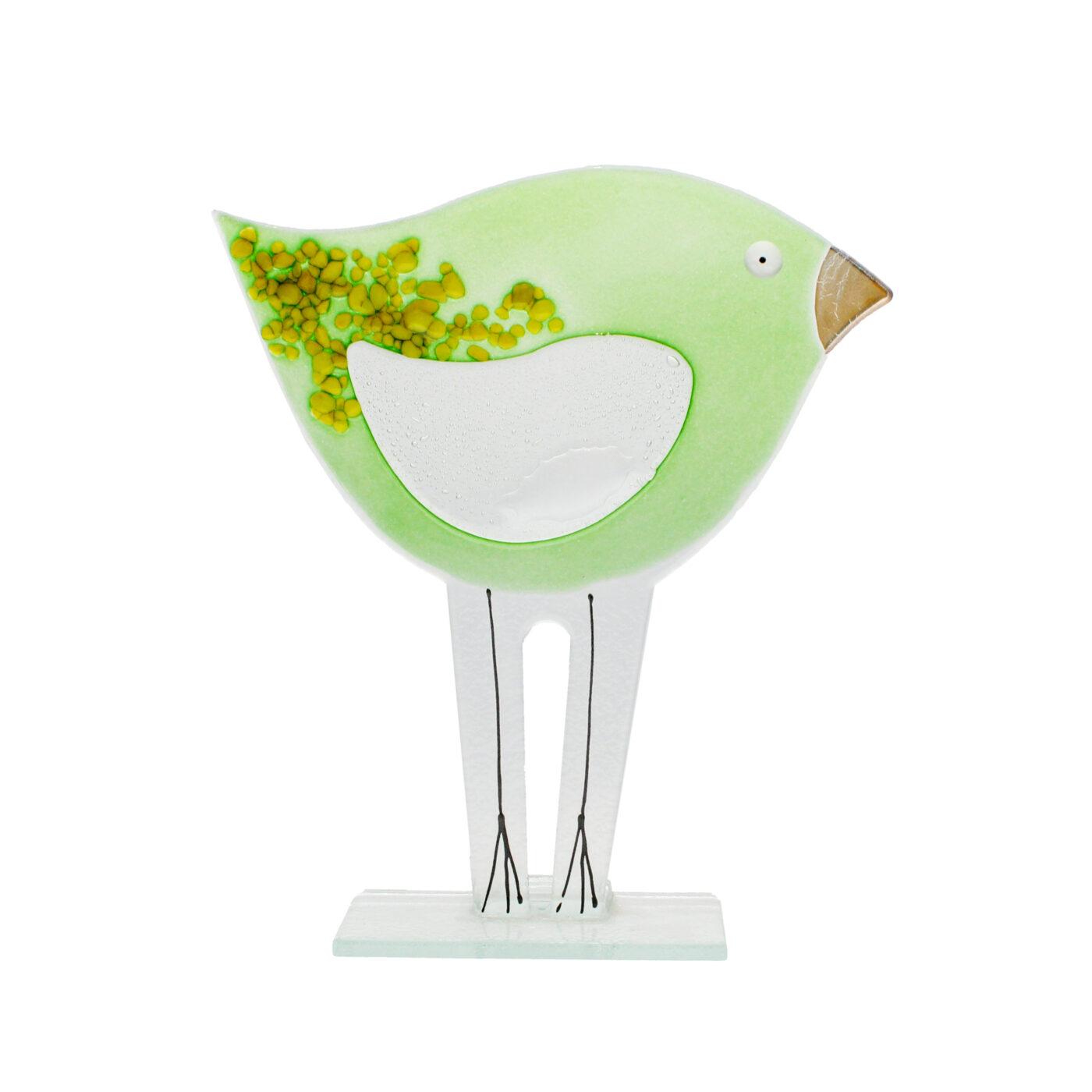 glass bird green large