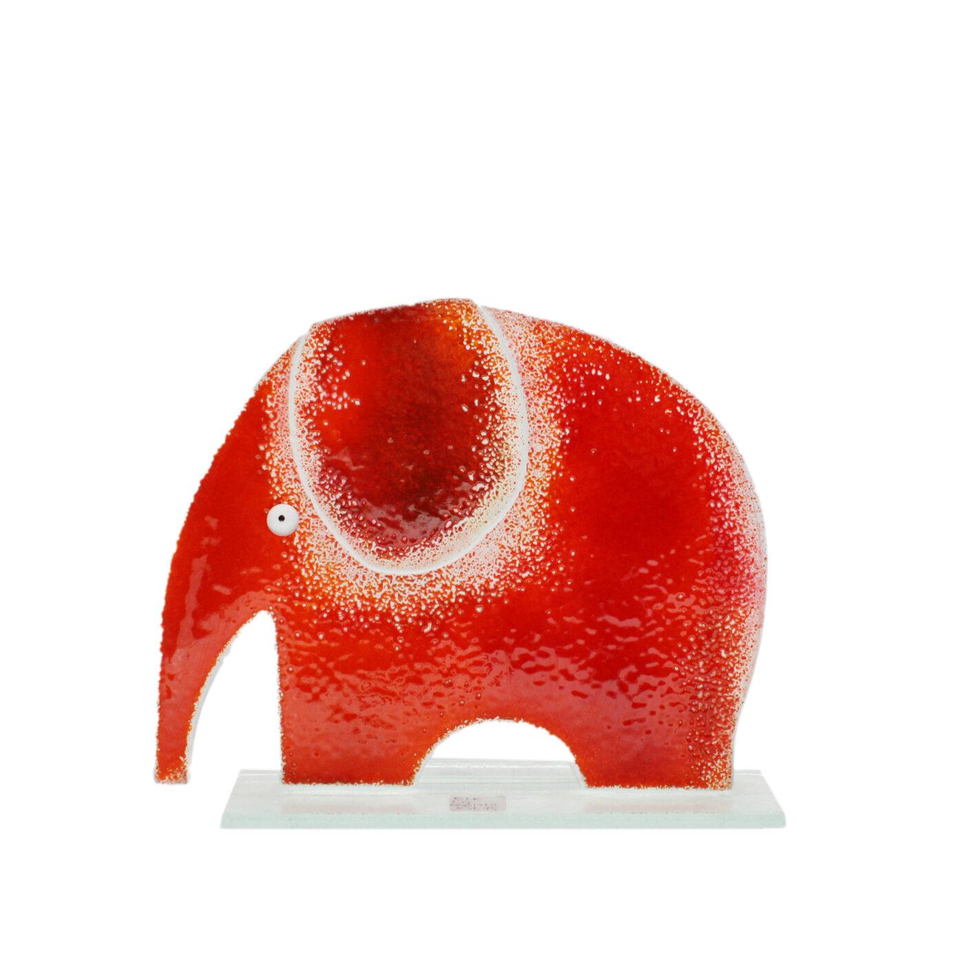 glass elephant sculpture red glass