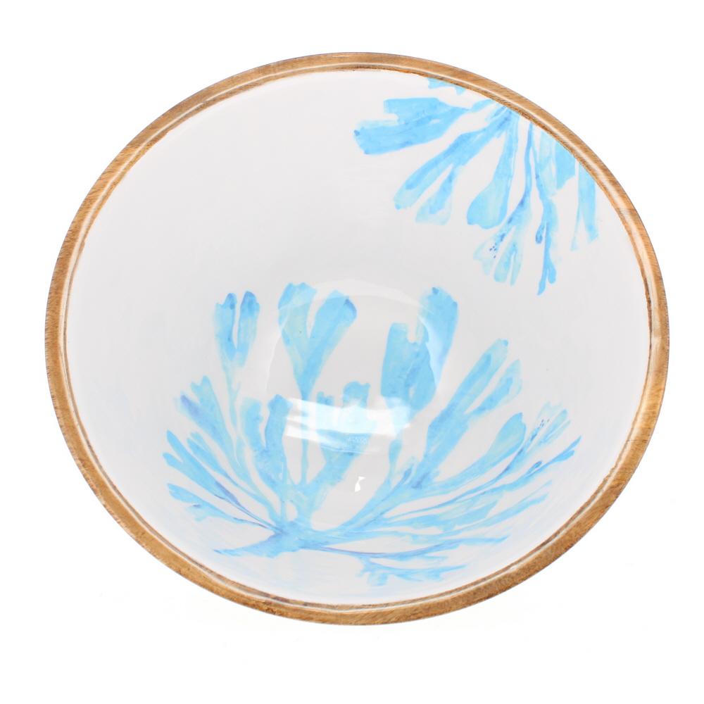 mango wood enamelled salad bowl seaweed design