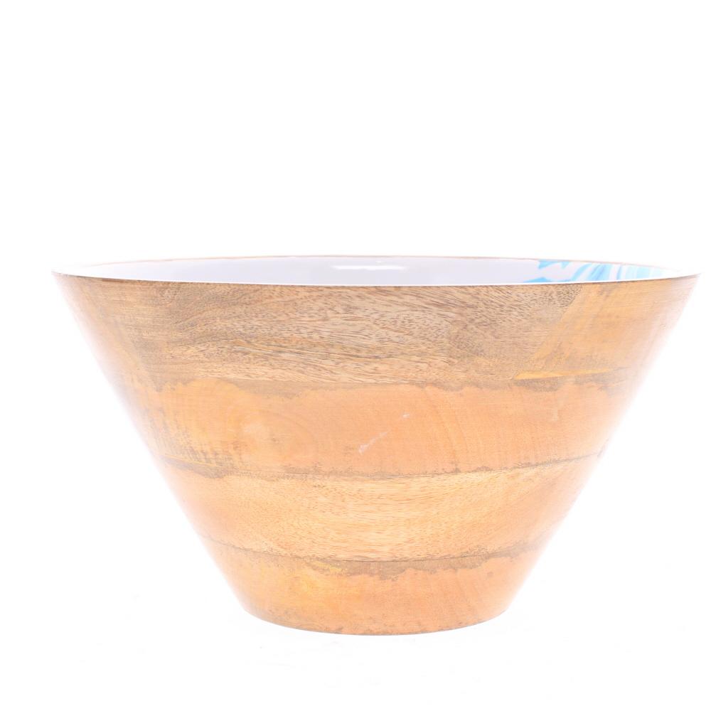 mango wood salad bowl seaweed design