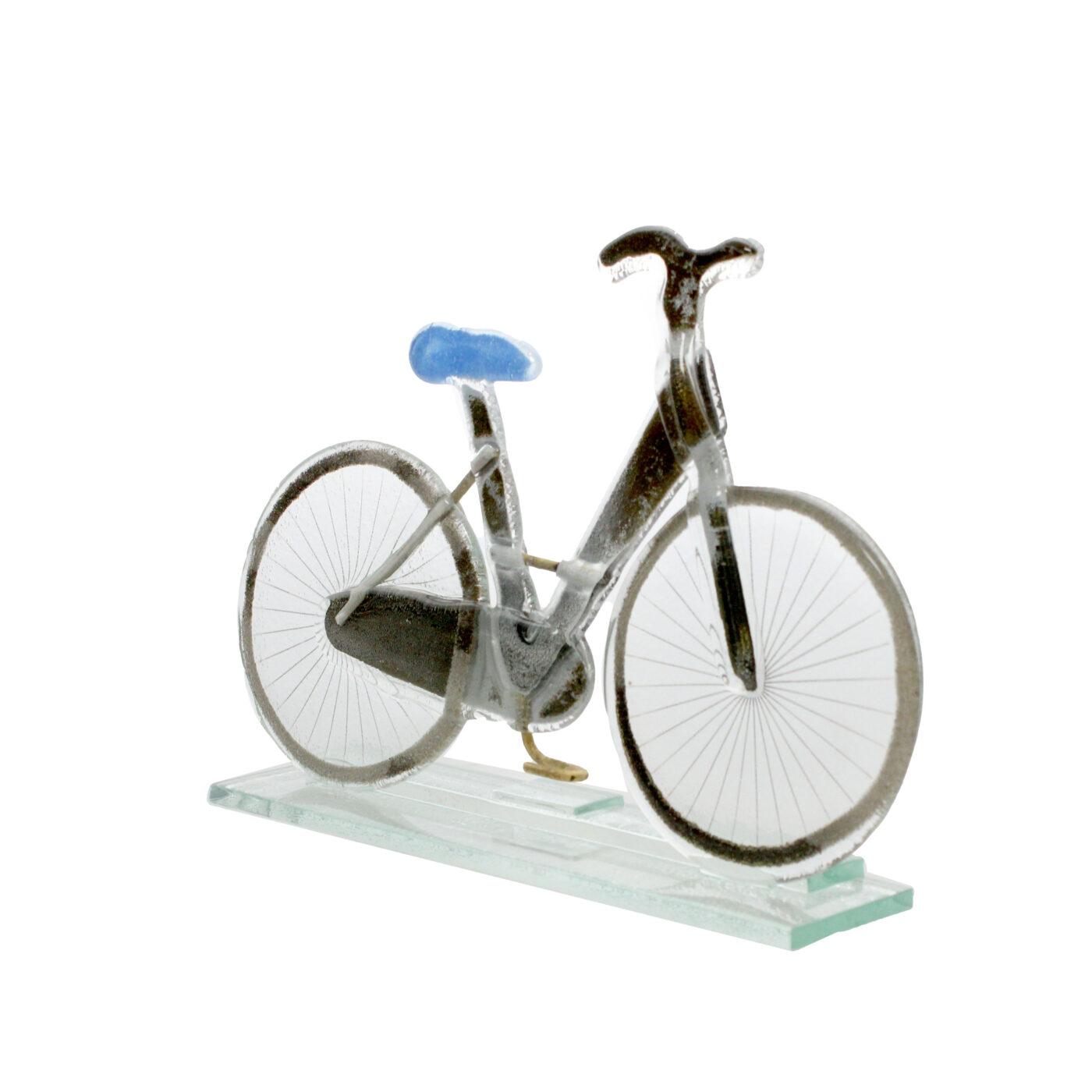 glass bike sculpture blue saddle