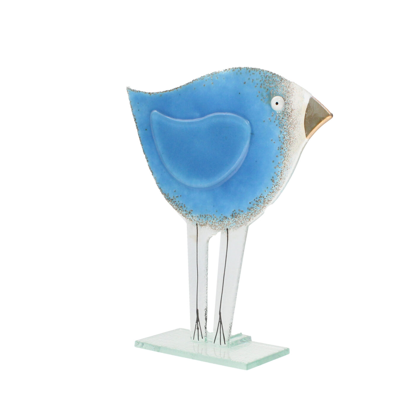 glass blue bird large