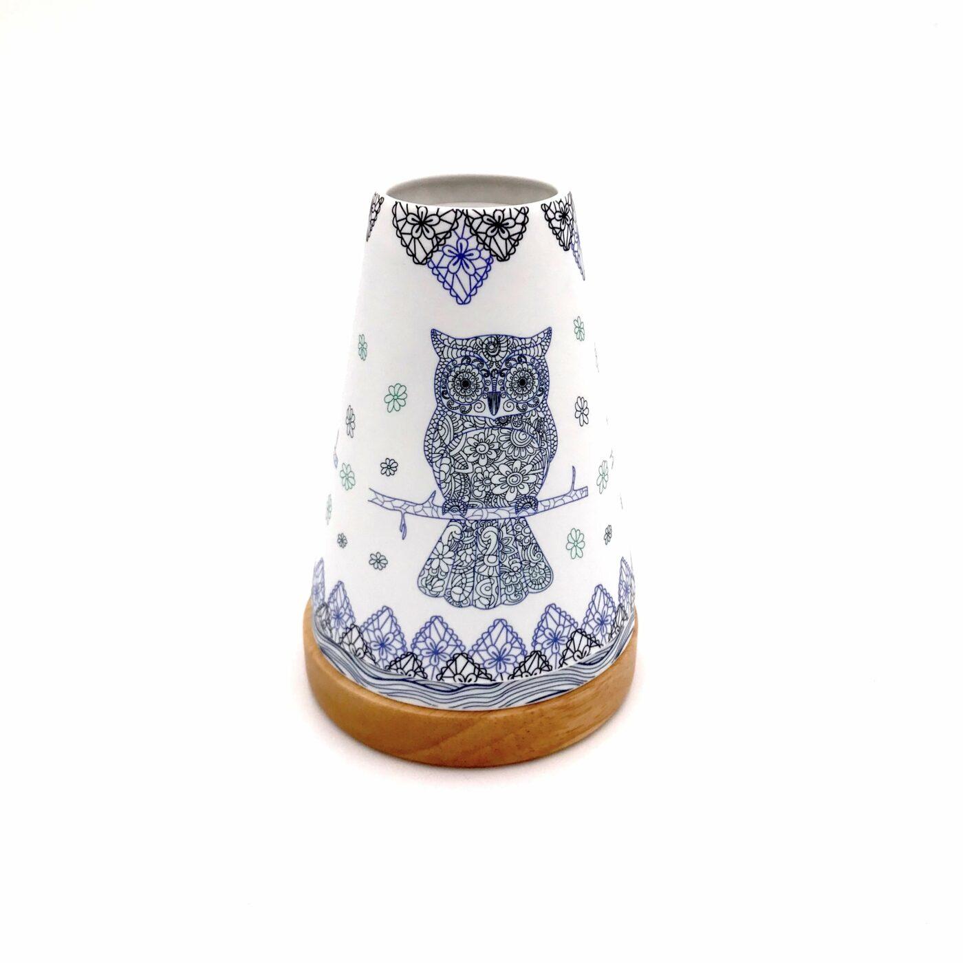 blue owl candle holder