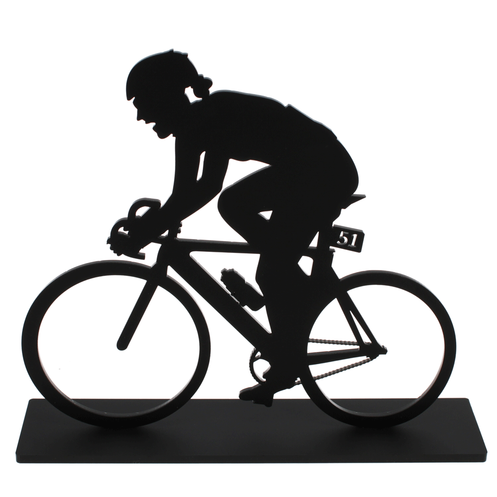 female acrylic cycling sculpture