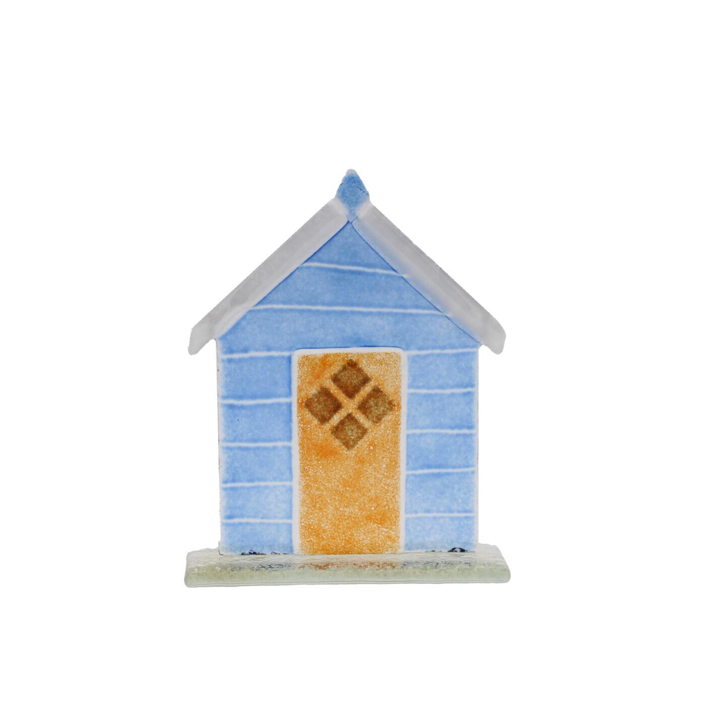 glass beach hut blue